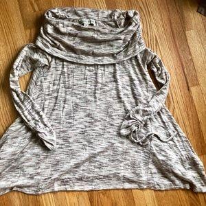 Cozy Heather Cream Cowl Neck Sweater
